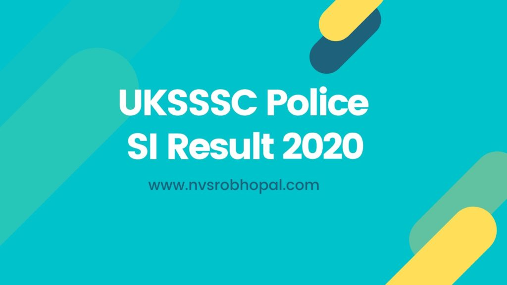 UKSSSC Police SI Result