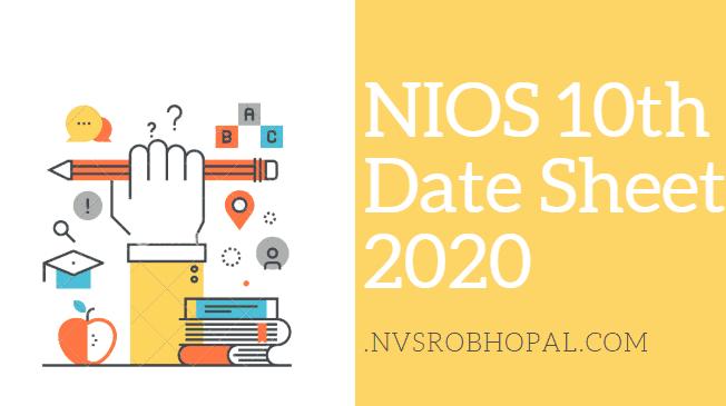 NIOS 10th Date Sheet 2020