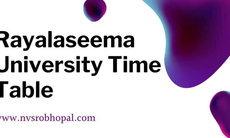 Photo of Rayalaseema University Time Table 2020:ruk.ac.in date sheet download