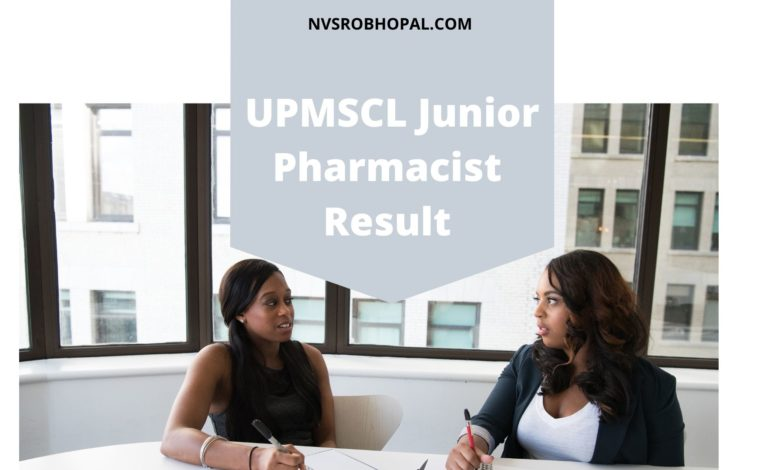 Photo of UPMSCL Junior Pharmacist Result 2019-20 Cut off Marks Merit List
