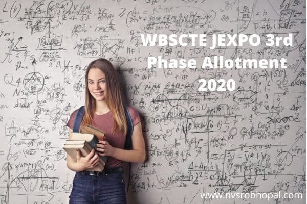 WBSCTE JEXPO 3rd Phase Allotment 2020 VOCLET WB Diploma 3rd Seat Allotment Result