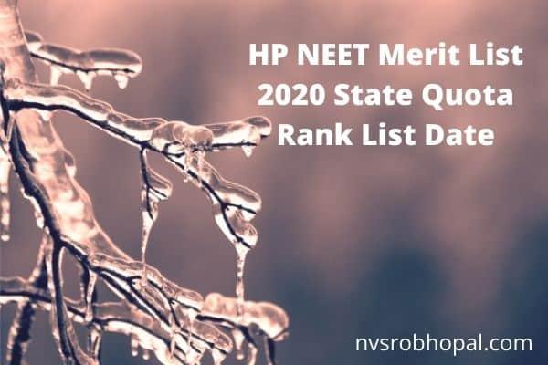 HP NEET Merit List 2020 State Quota Rank List Date