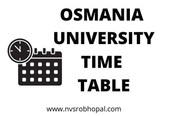Osmania University Time Table