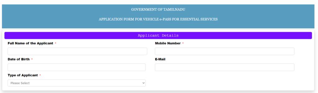 TN ePass vehicle Applicant details