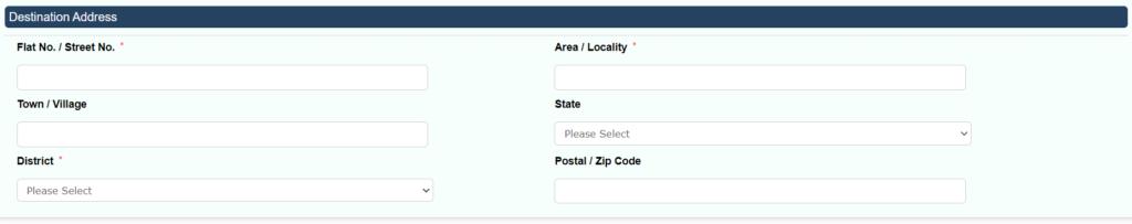 Destination Address details