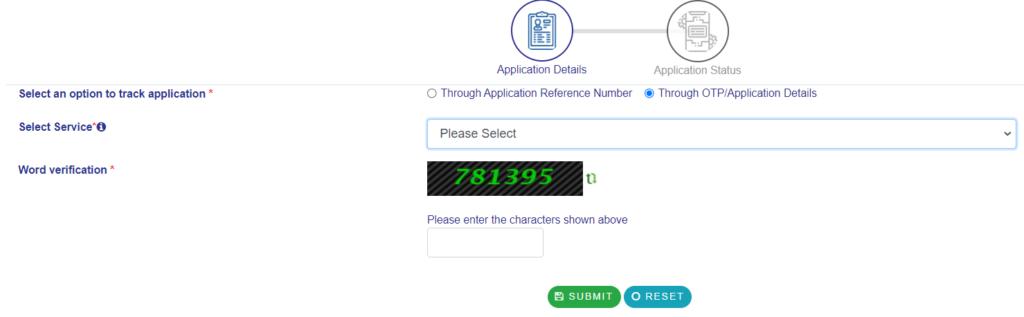 Track application status via OTP