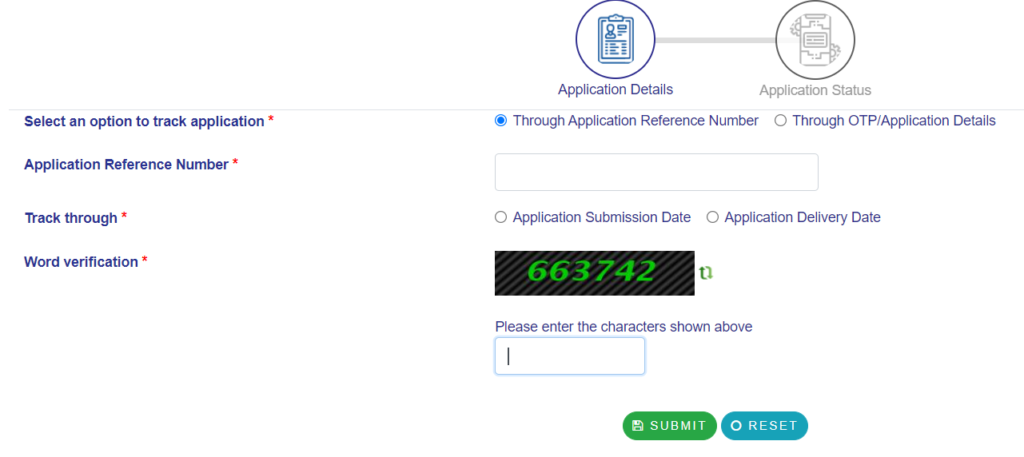 Tripura track via Application reference number