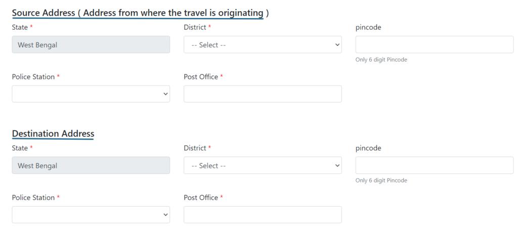 WB ePass form address details