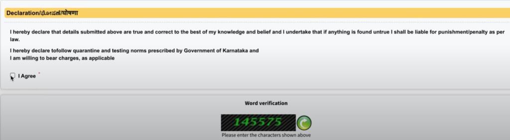 Karnataka ePass Declaration