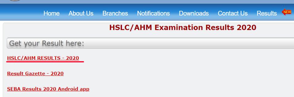 Assam HSLC AHM Result 2021 link