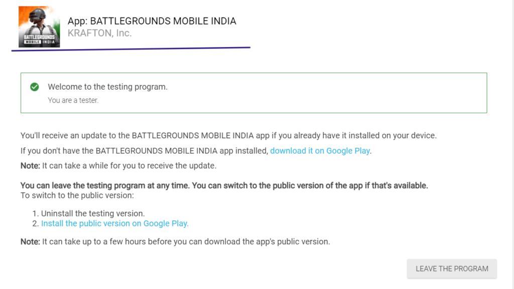 PUBG India Battleground Beta version