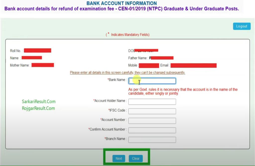 RRB NTPC Refund Bank Update