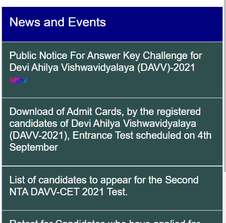 DAVV CET Admission List 2021