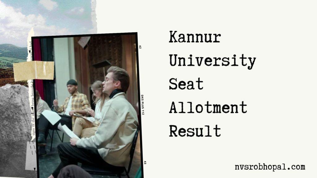 Kannur University Allotment Result
