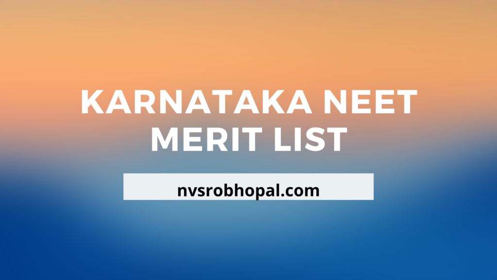 Karnataka NEET Merit List