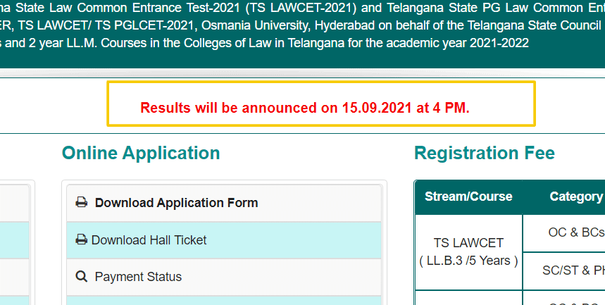 TS LAWCET Result date