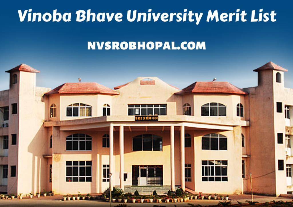 Vinoba Bhave University Merit List 2021