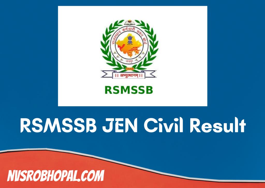 RSMSSB JEN Civil Result 2021